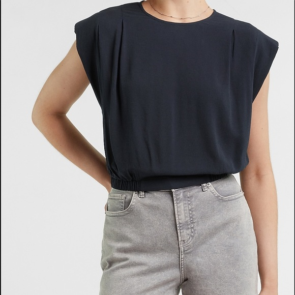 New With Tag Navy Cropped Shoulder Padded